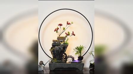 君晓天云小型假山流水喷泉摆件室内景观鱼缸客厅办公室招财风水轮桌面装饰