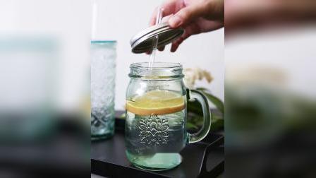 君晓天云西班牙进口手工玻璃吸管杯北欧透明加厚复古果汁饮料杯咖啡奶茶杯