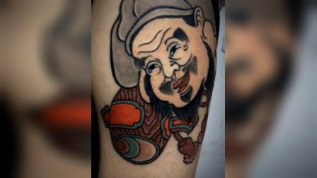 传统风格喜神纹身  大臂纹身 彩色纹身  桂林纹身 谛刺青