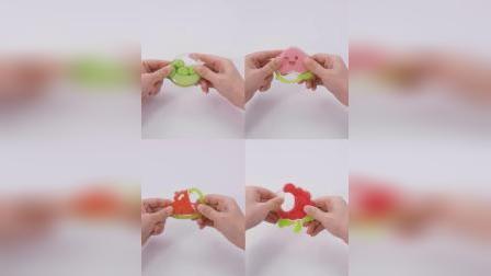 君晓天云新贝固齿器婴儿磨牙棒咬咬硅胶玩具乐曼哈顿手抓球长颈鹿牙咬胶小鹿