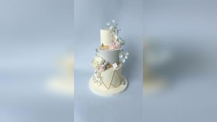 手工捏塑巧克力婚礼主题生日蛋糕,全部手工巧克力花卉,比翻糖耐潮好存放不易碎口感软糯,零基础学生练习作品