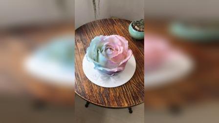 手工捏塑巧克力蛋糕,口感软糯,玫瑰花造型生日蛋糕,零基础学生实际操作练习作品