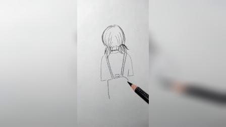 画女孩背影
