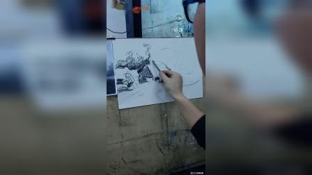 古都艺术培训学校副校长刘佩示范风景速写