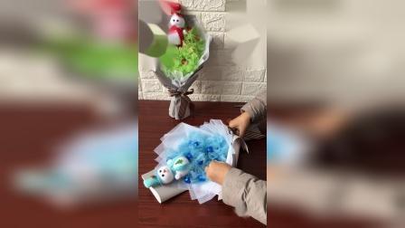 芝兰轩花艺11颗纱幔棒棒糖花束包装教程