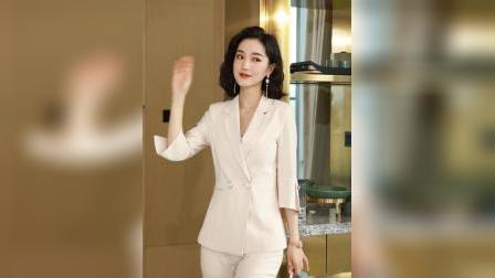 【2020新款】女式中袖西装套装套装女职业装女士西服春夏工作服OL