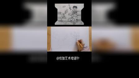 儿童线描画《抵抗病毒》