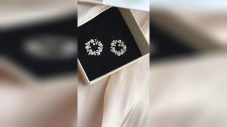 法式优雅唯美花环925银针耳钉镀14K金锆石仿珍珠耳环女无耳洞耳夹