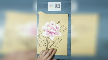 《牡丹花》儿童油画棒创意画