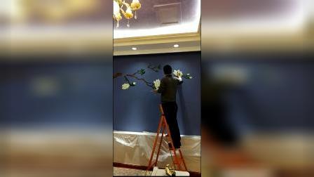 墙绘 壁画 彩绘 玉兰花 太原广友手绘 太原墙绘 背景墙画 装修设计 硅藻泥 墙衣 粉刷墙