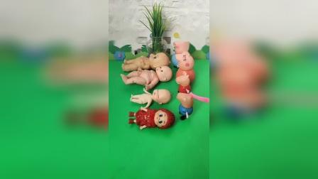 少儿益智亲子玩具:给佩琪和乔治一家人,一人发一个布娃娃宝宝