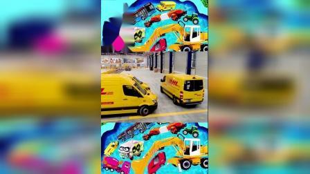 儿童早教玩具认知:大卡车、邮递车、吊车、推土机、出租车!