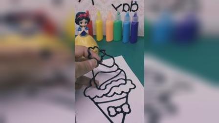 玩具视频  白雪在画冰淇淋