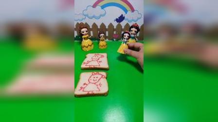 贝儿有两片面包,白雪只要一片面包,不过面包上面都有小猪的画像