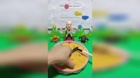 儿童益智玩具故事,光头强做的披萨