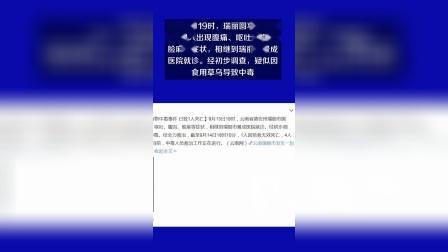 云南瑞丽市发生一起食物中毒 已致1人9人病情危重