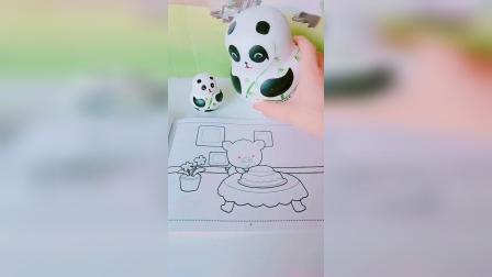 益智育儿幼教亲子:熊猫宝宝帮小猪画出漂亮的蛋糕啦