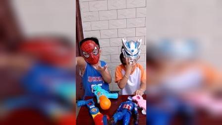 童年趣事:奥特曼和蜘蛛侠坐到一起了