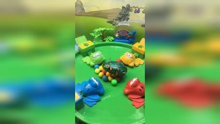 青蛙吃豆啦,出现一只小青蛙,蹦来蹦去真好玩!