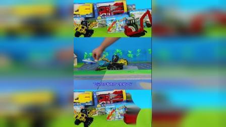 儿童玩具车表演:邮递车运输快递,叉车放置集装箱!