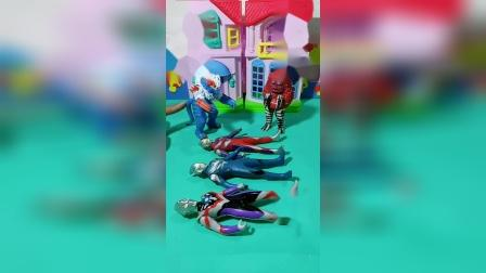 怪兽抓了三个奥特曼,不知道应该藏到哪里,因为小朋友可以救出奥特曼