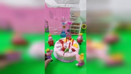 益智玩具:乔治过生日买一个那么漂亮的蛋糕,小猪佩奇也想要
