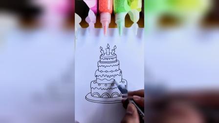 简笔画生日蛋糕,一起来画