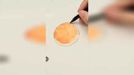 水彩红豆面包