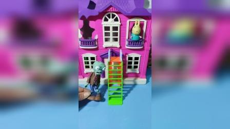 小兔瑞贝卡在阳台上晒太阳,被僵尸给盯上了,有能耐你上来呀!