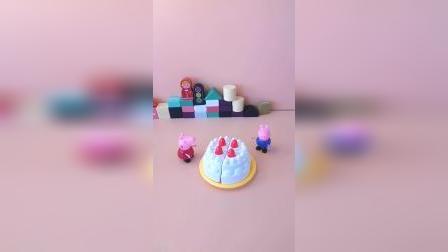 猪妈妈过生日乔治佩奇准备生日蛋糕