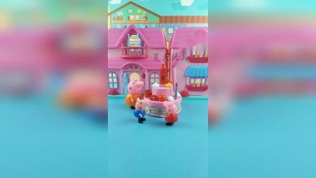 猪妈妈给佩奇买了生日蛋糕,佩奇好开心