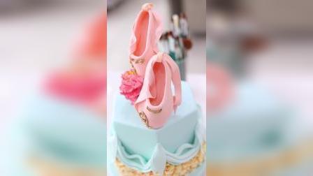 优美西点何老师作品-红舞鞋翻糖蛋糕
