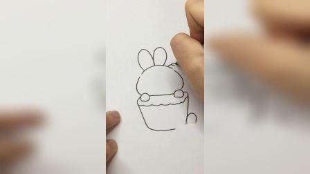 兔子纸杯蛋糕#简笔画