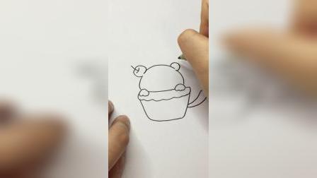 纸杯蛋糕#简笔画