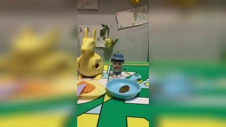 童年趣事,兔子吃披萨,小矮人非要吃饼干