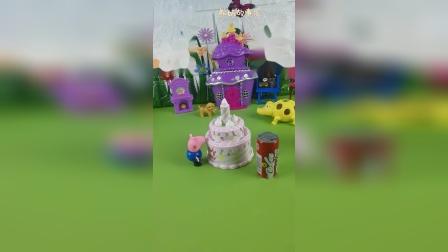 佩奇亲手给乔治做了个生日蛋糕,乔治很感动