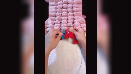 雅馨绣坊球球线毯子编织方法图解视频